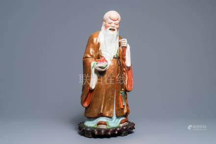 A large Chinese famille rose figure of Shou Lao, Republic, 20th C.
