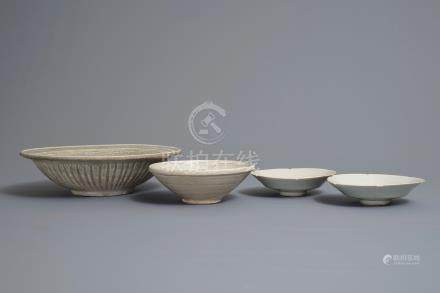 Two Chinese qingbai bowls, a Thai Sawankhalok dish and a bowl, Song and later