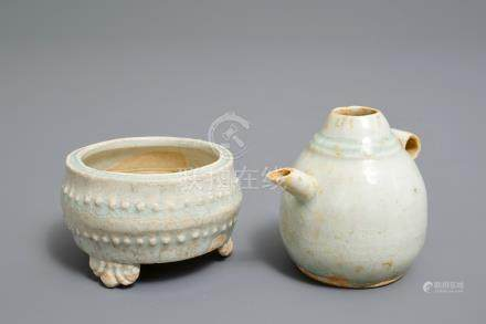 A small Chinese qingbai tripod censer and a water dropper, Song or Yuan