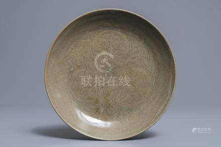 A Chinese carved Yaozhou dish, probably Song