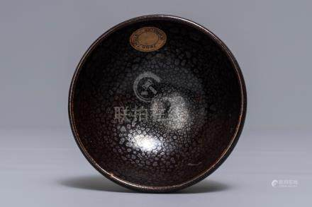 A Chinese black-glazed tea bowl with oil spots, Song or later