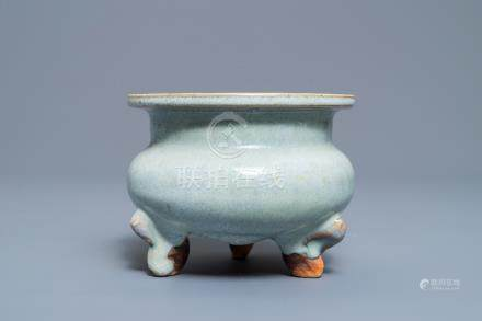 A Chinese junyao tripod censer, probably Ming