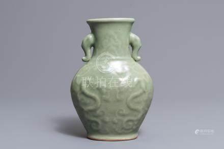 A Chinese Longquan celadon 'dragon' vase, Ming