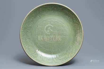 A large Chinese Longquan incised celadon charger, Ming