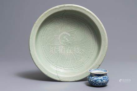 A Chinese blue and white incense burner and a Longquan celadon dish, Ming