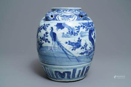 A large Chinese blue and white jar with birds in a landscape, Wanli