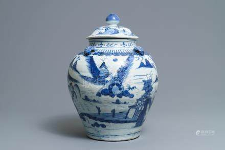 A large Chinese blue and white landscape vase and cover, Wanli