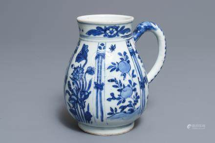A Chinese blue and white jug with floral design, Wanli