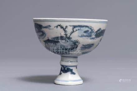 A Chinese blue and white 'landscape' stem cup, Wanli mark but prob. later