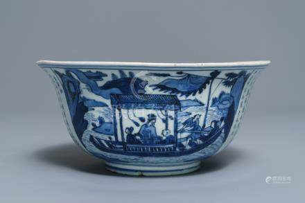A large Chinese blue and white 'Ode to the red cliffs' bowl, Transitional period