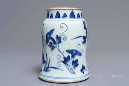 A Chinese blue and white jar with floral design, Transitional period