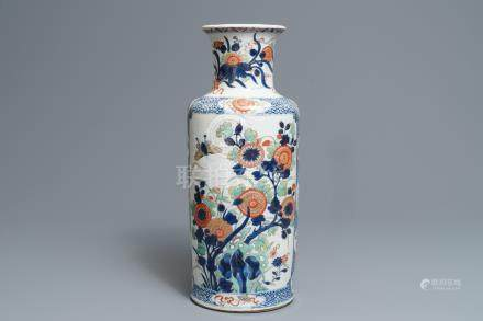 A Chinese verte-Imari rouleau vase with floral design, Kangxi