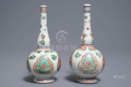 A pair of Chinese famille verte rosewater sprinklers, Kangxi