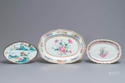 Three large oval Chinese famille rose dishes, Qianlong