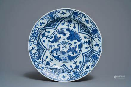 A Chinese blue and white 'cranes' dish, Jiajing