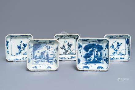 Five square Chinese blue and white 'ko-sometsuke' Japanese market dishes, Ming