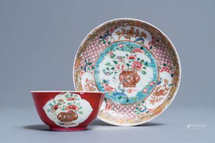 A fine Chinese famille rose 'ruby back' cup and saucer, Yongzheng