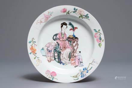 A Chinese famille rose eggshell 'ruby back' plate, Yongzheng