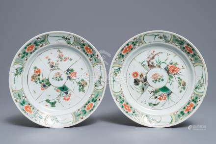 A pair of Chinese famille verte plates with floral design, Kangxi