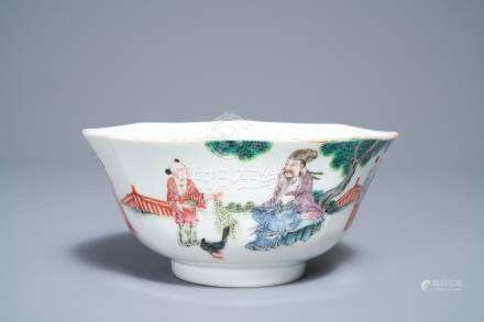 A Chinese octagonal famille rose bowl with figures in a landscape, Daoguang mark and of the period