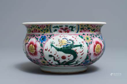 A Chinese famille rose 'dragon' censer, Yongzheng