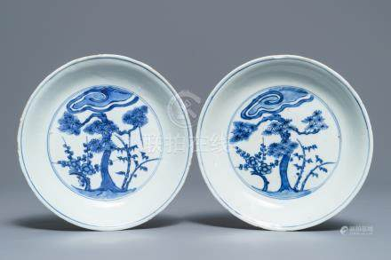 A pair of Chinese blue and white 'Three friends of winter' plates, Chenghua mark, Wanli