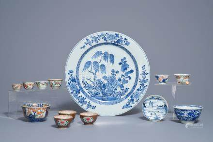 A varied collection of Chinese blue and white, famille rose and verte wares, 18th C.