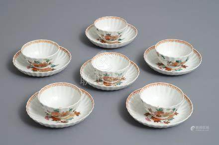 Six lobed Chinese famille rose cups and saucers with floral designs, Qianlong