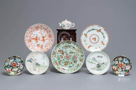A varied collection of Chinese famille rose, verte and qianjiang cai wares, 18/20th C.