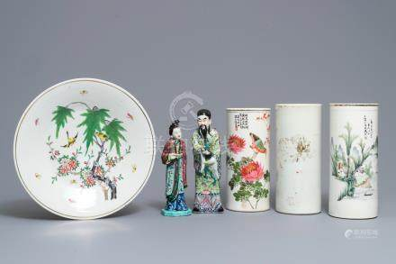 Three Chinese famille rose and qianjiang cai hat stands, a dish and two figures, 19/20th C.