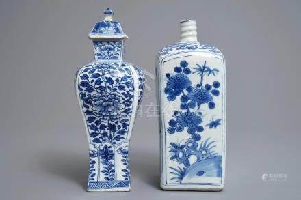A Chinese blue and white square bottle, Wanli, and a vase and cover, Kangxi