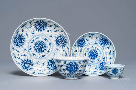 A Chinese blue and white 'lotus' plate, a bowl and a cup and saucer, Guangxu mark, 19/20th C.