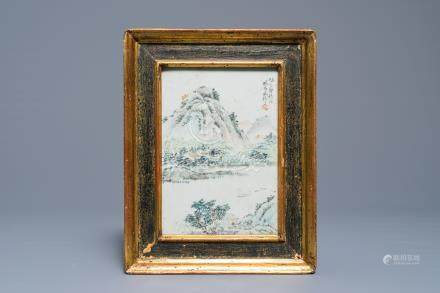 A Chinese qianjiang cai plaque with a mountain landscape, Luo Yang Gu, Guangxu