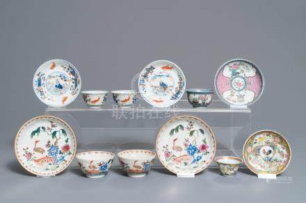 Six various Chinese famille rose and Imari-style cups and saucers, 18th C.