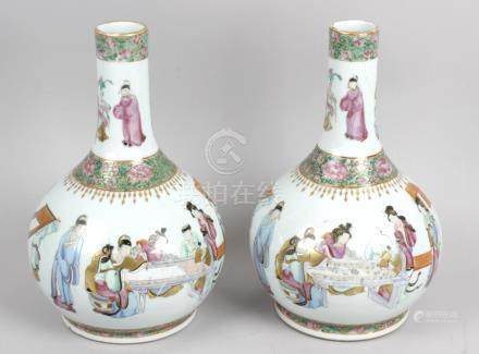 A pair of 19th century Canton famille rose vases,