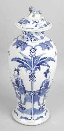A 19th century Chinese blue and white vase and cover,