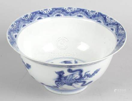 A 19th century Chinese porcelain blue and white bowl,
