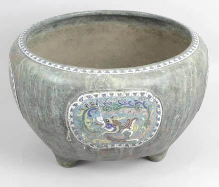 An antique Chinese bronze pot,