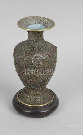 A Chinese brass bodied vase,