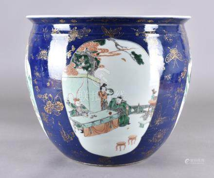 A large Chinese porcelain jardiniere, famille rose palette having four cartouches decorated with