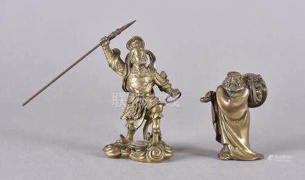 Two early 20th Century Chinese bronze figures, one modelled as an alder gathering sticks, 8 cm high,