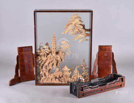A modern Chinese cork diorama, within a lacquered display case, modelled as pagodas within