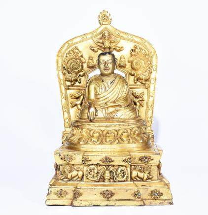 A GILT BRONZE BUDDHA STATUE OF MASTER