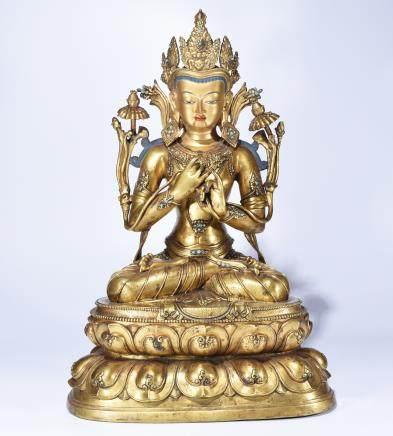 A BRONZE BUDDHA STATUE OF DORJE