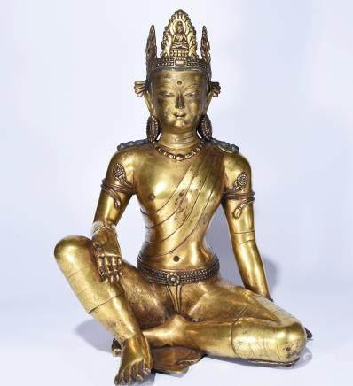 A BRONZE BUDDHA STATUE OF TARA