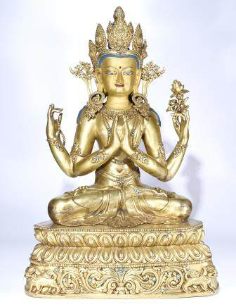 A GILT BRONZE BUDDHA STATUE OF GUANYIN