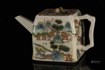 A FAMILLE ROSE SQUARE TEAPOT