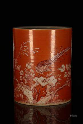 A CORAL RED GLAZED BRUSHPOT