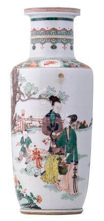 A Chinese famille verte rouleau shaped vase, overall decorated with ladies and children in a garden, about 1900, H 47,5 cm