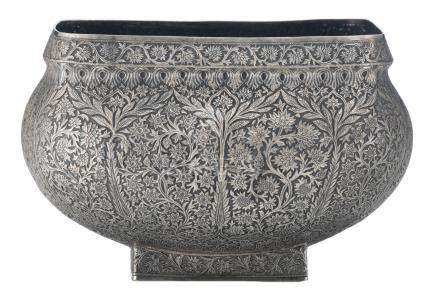 A Persian silver bowl, horror vacui floral decorated, on a square base, H 15,5 - W/D 24 x 24 cm, weight about 1365 g
